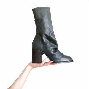 New FREE PEOPLE Elle Slouchy Chunky Heel Green Zip Boots Sz 38 / 8